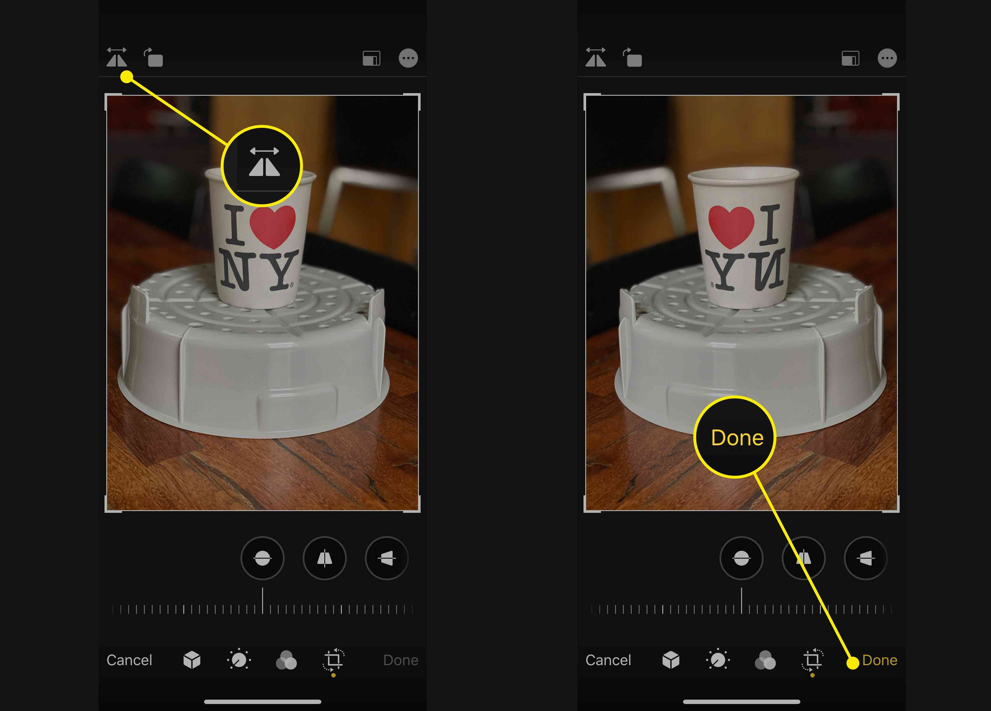 Flip and Done buttons in iOS Photos app