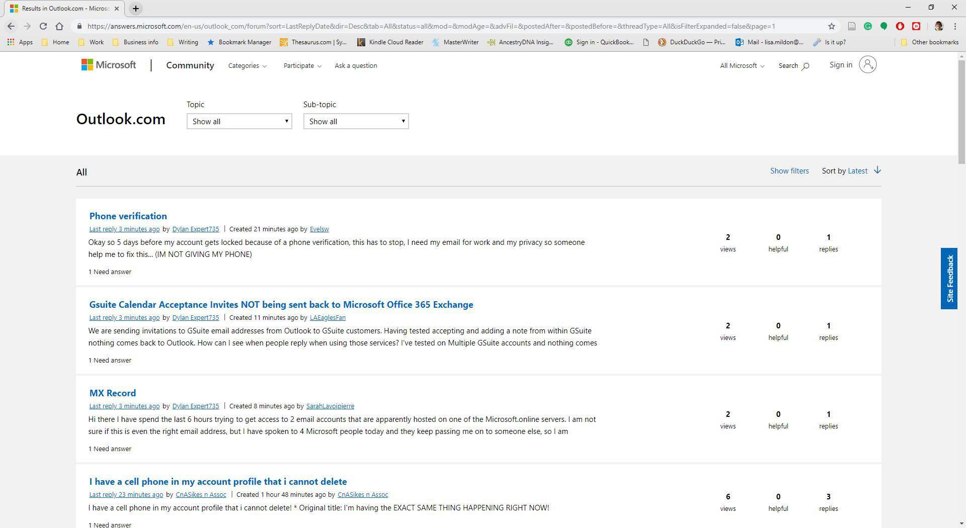 Microsoft's Outlook.com Forum community website.