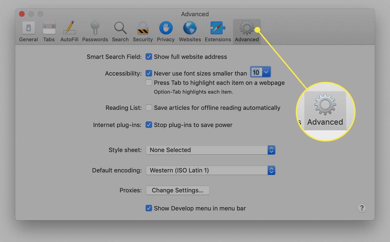 Safari preferences with the Advanced tab highlighted