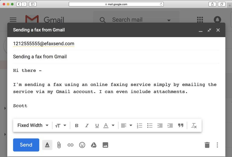 Email with fax number address in Gmail