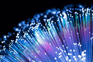 A bundle of fiber optic cables