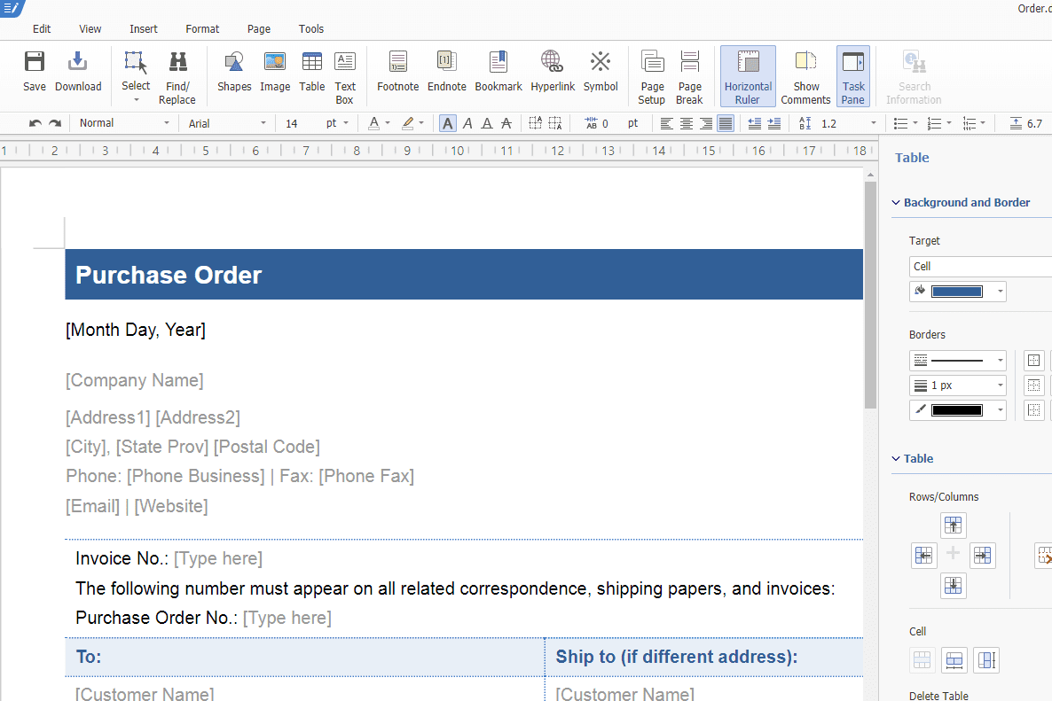 Thinkfree Office Online sample document