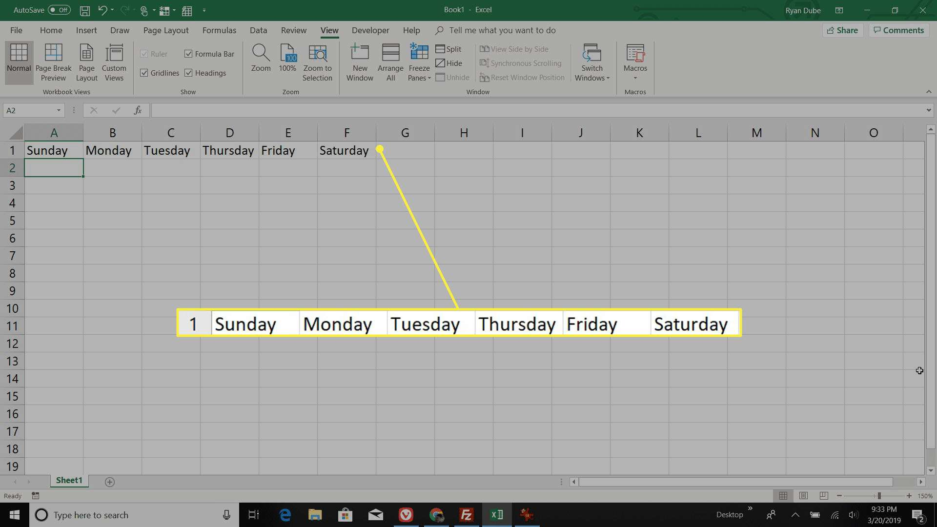 filling out days of the week in the Excel calendar