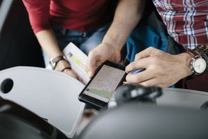 People viewing maps app on a smartphone