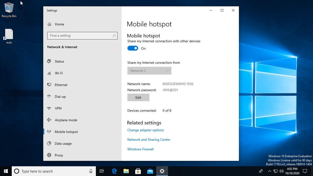 Windows 10 mobile hotspot enabled