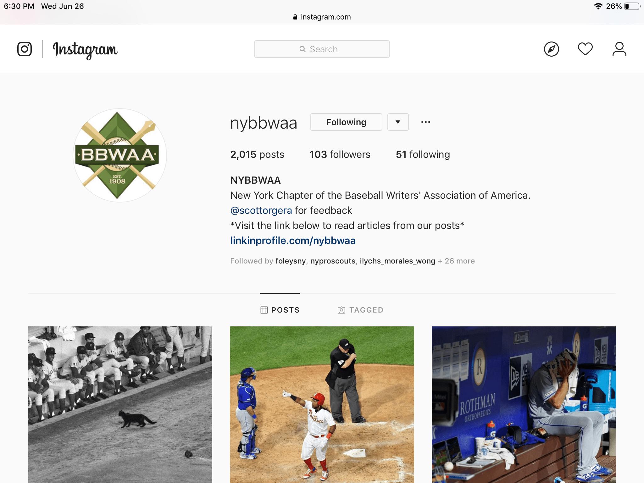 An Instagram profile in Safari for iPad