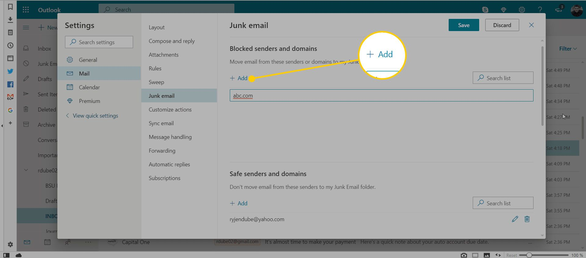 Junk email settings in Outlook with the Add button highlighted