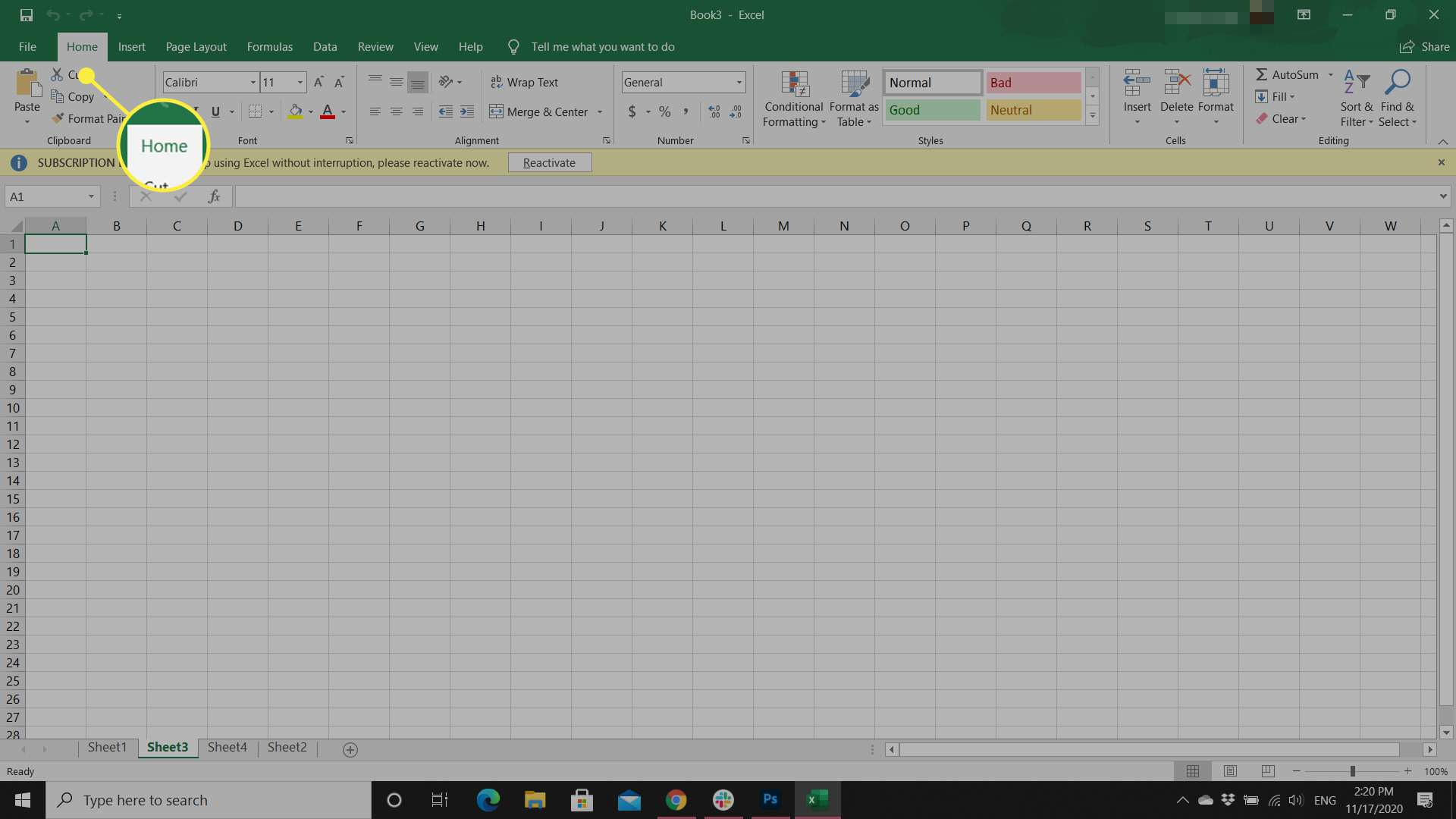 An Excel worksheet with the Home tab highlighted