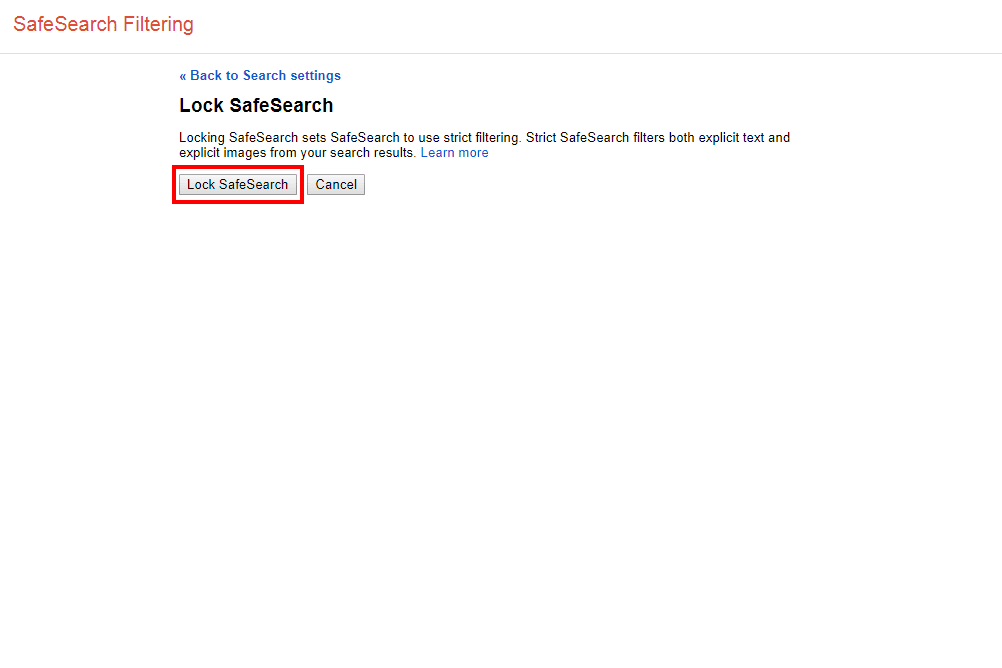 Screenshot of the Lock SafeSearch page in Google's Search Settings screen