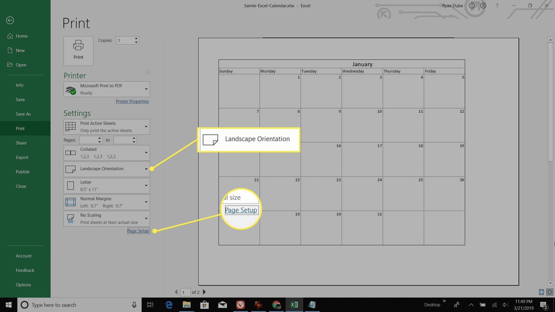 printing a monthly calendar sheet