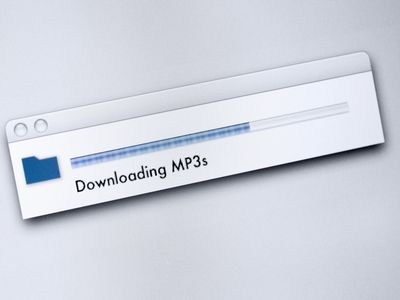 A file dialog box stating 'Downloading MP3s' with a progress bar.