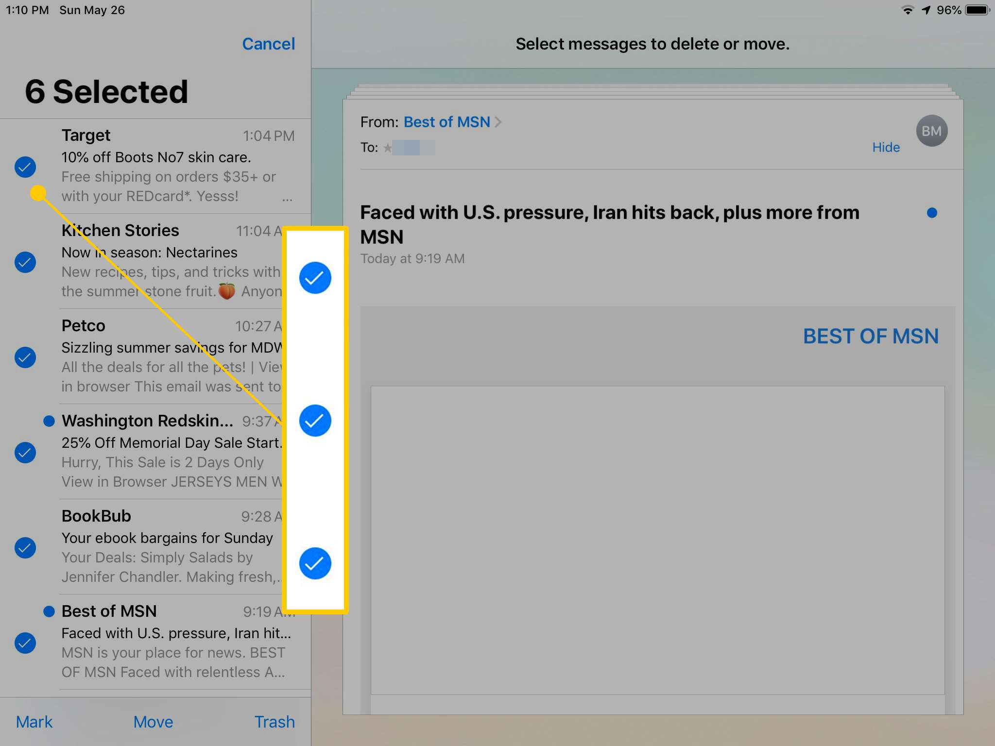Selection checkboxes in iOS Mail on iPad