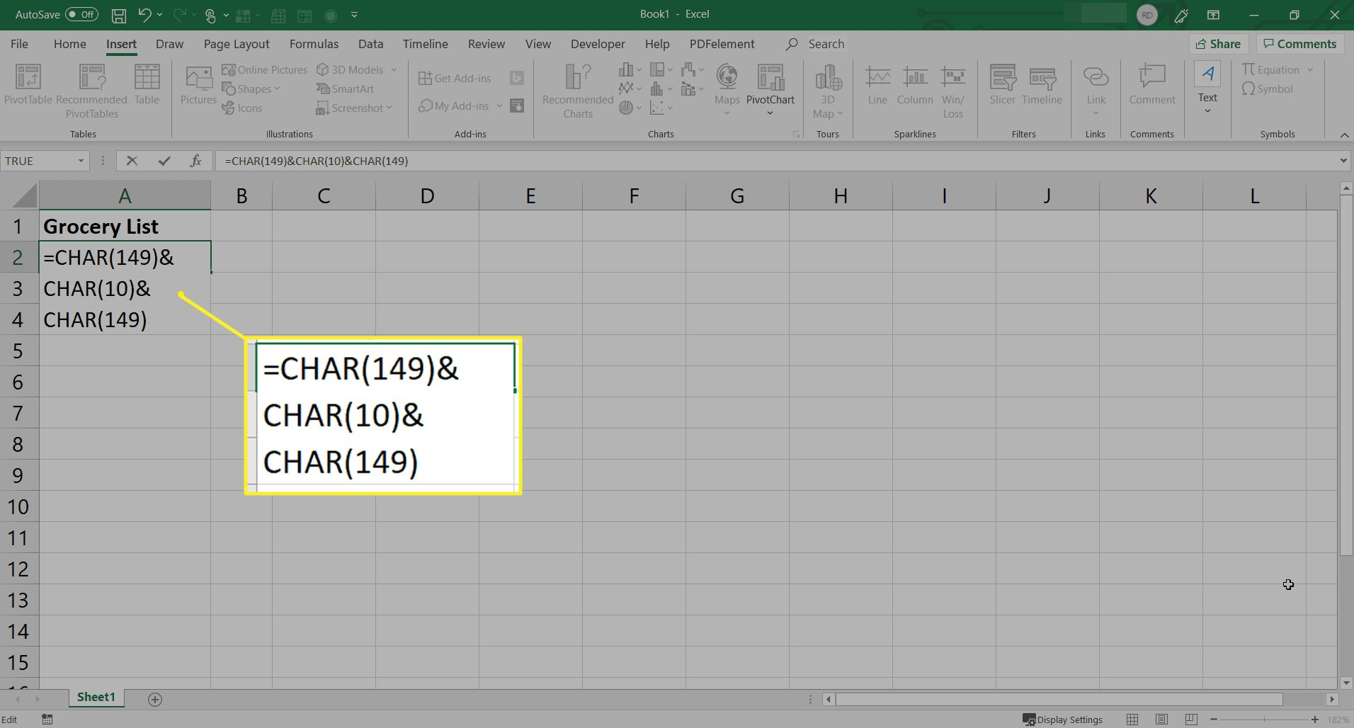 Using CHAR function to insert bullets in Excel