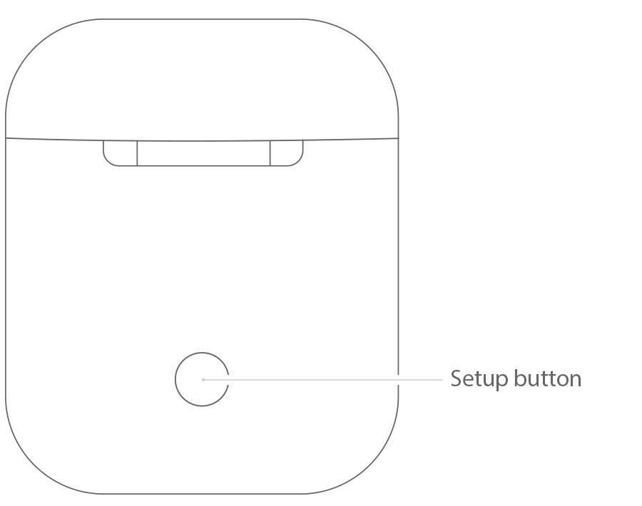 Press the circle button on the rear of the Apple AirPod charging case.