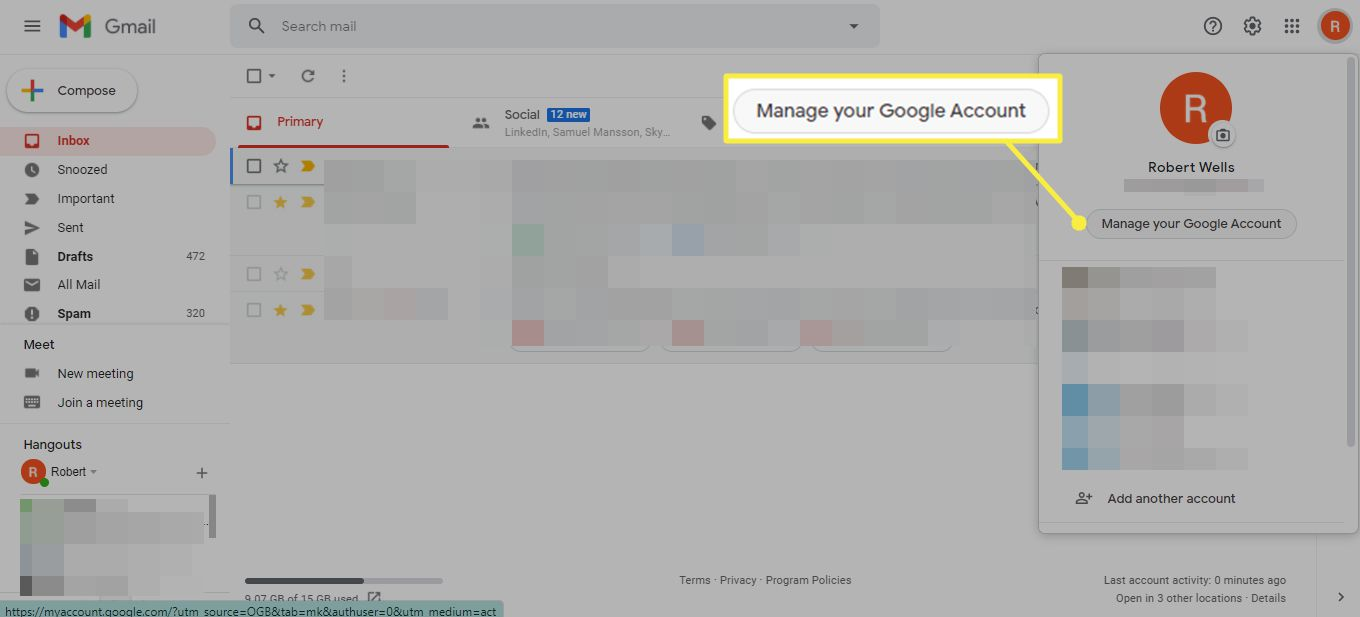 Manage your Google Account in Gmail
