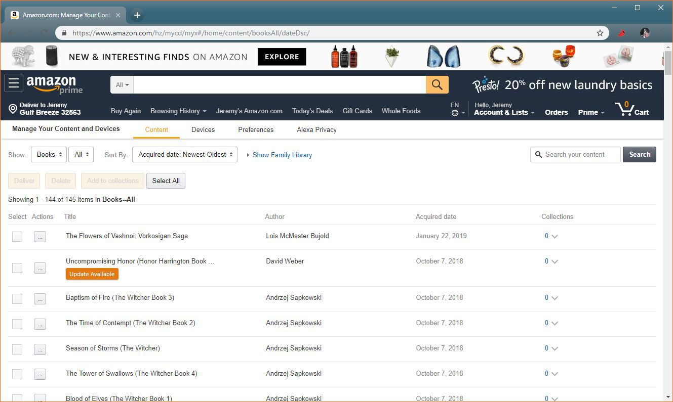 A screenshot of the Amazon content management page.