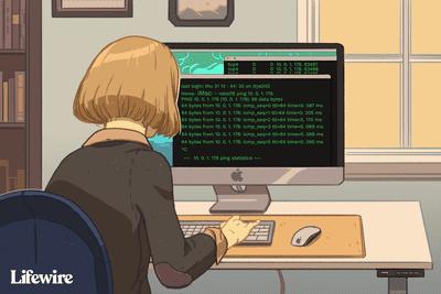 Person finding a MAC address via Terminal app on an iMac