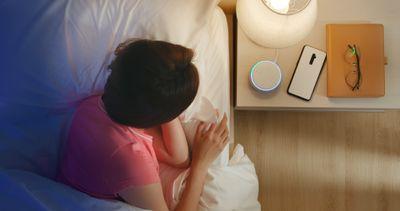 An Echo Dot set up as a night light.