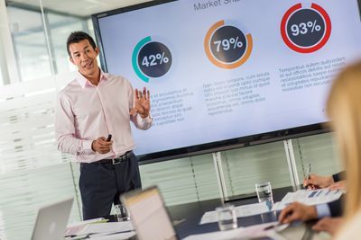 man giving PowerPoint presentation