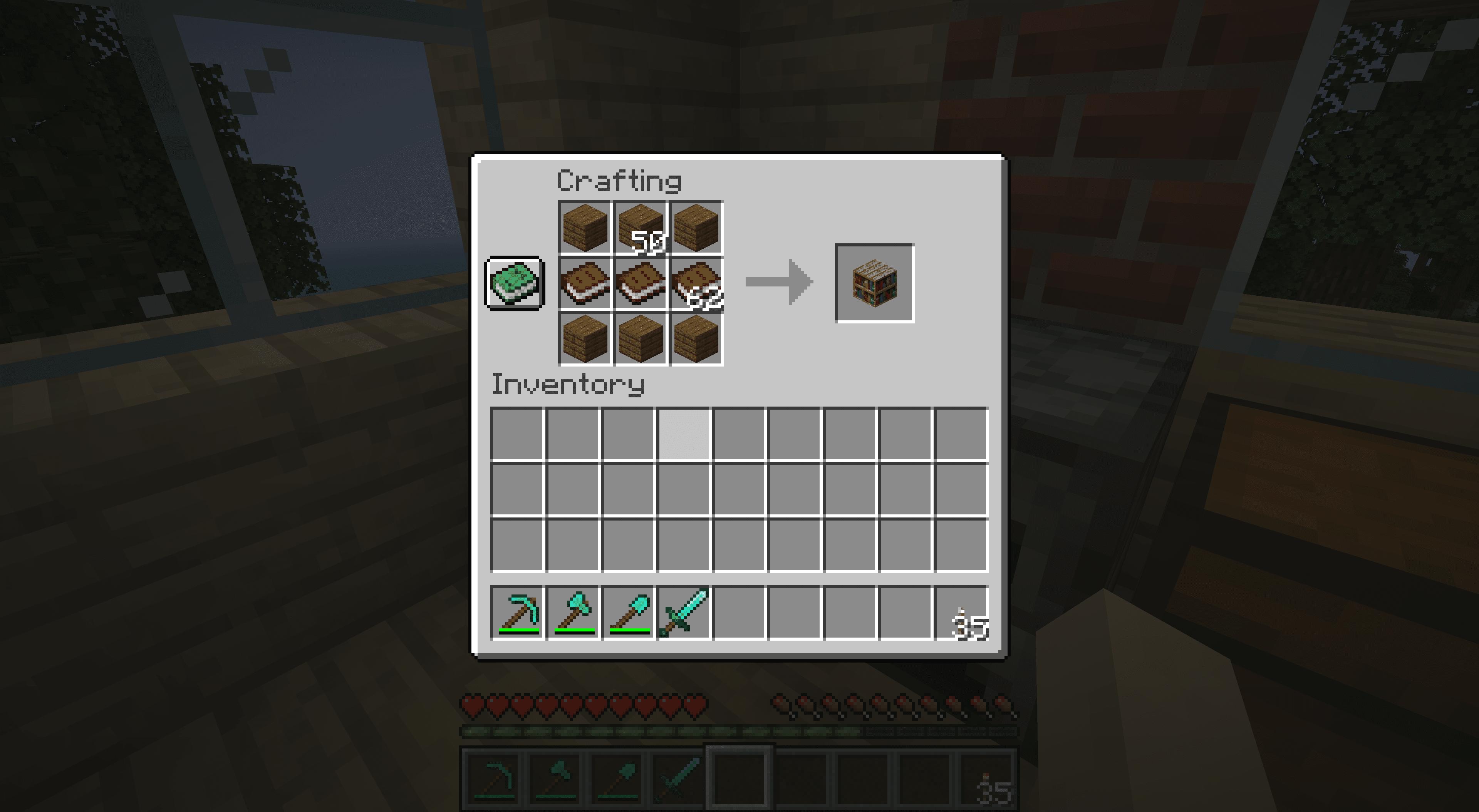 Crafting bookshelves in Minecraft.