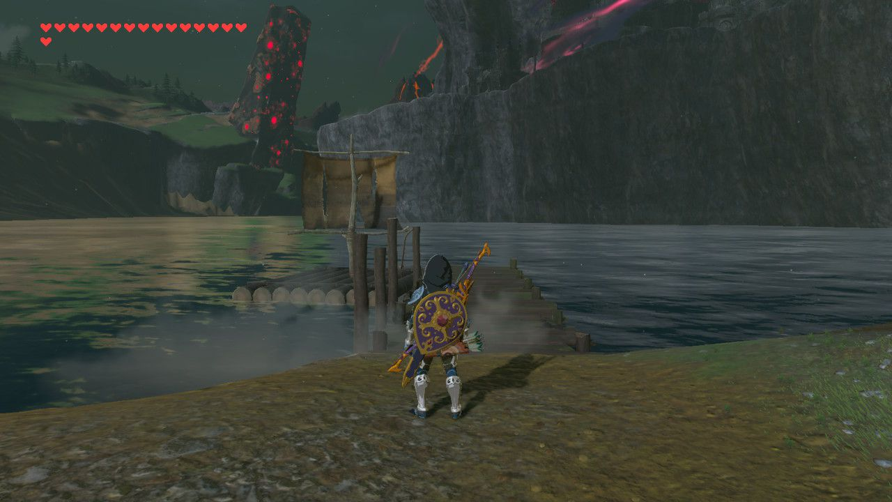 Finding boat at Hyrule Castle Moat in The Legend of Zelda: Breath of the Wild.