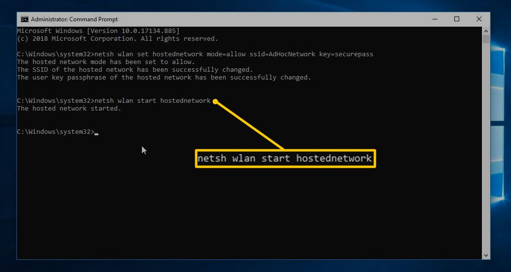 netsh command in Command Prompt