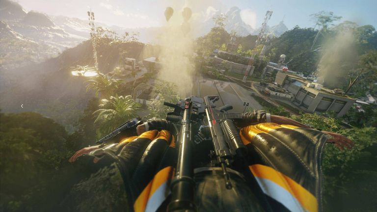 Rico gliding over Solis in Just Cause 4 on PS4.