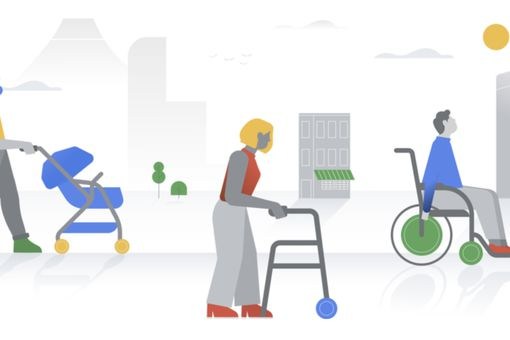 Illustration of people using a stroller, a walker, and a wheelchair