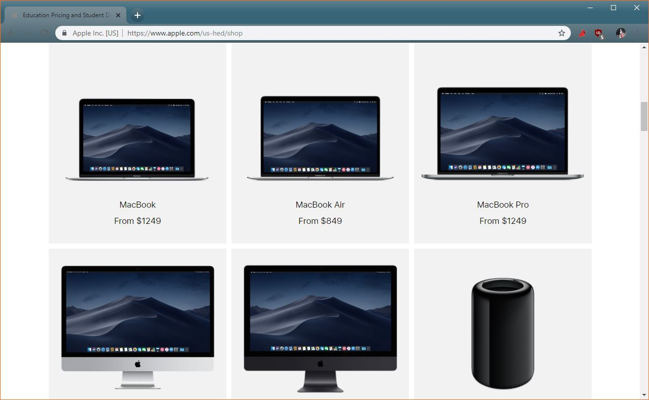 A screenshot of products in the Apple Education Store.