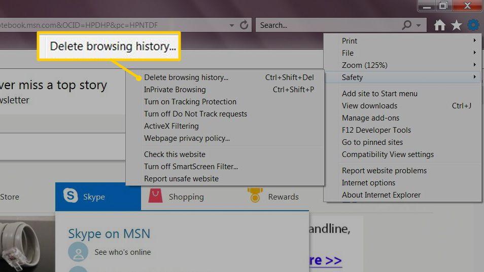 Delete browsing history menu item