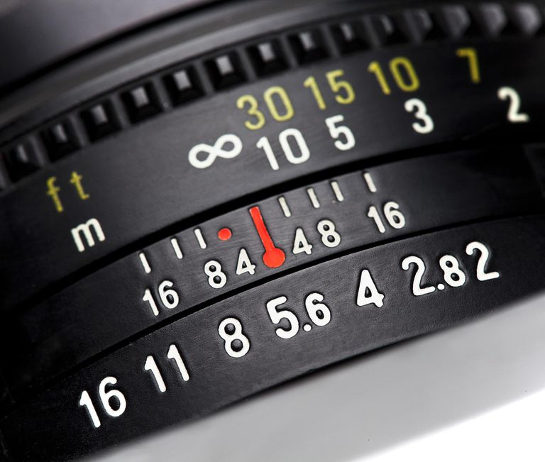 Settings on a camera lens.