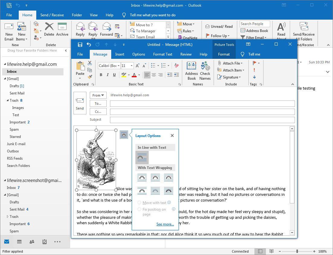 Layout Options menu in Outlook 2016