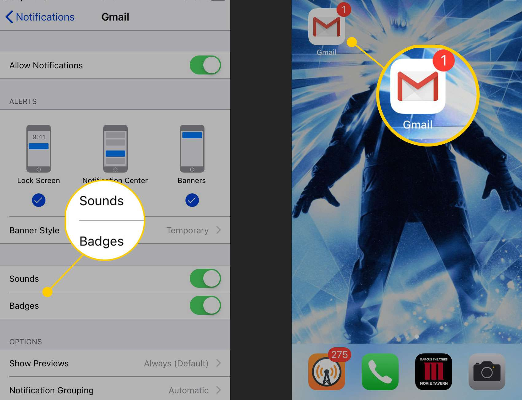 See New Gmail Messages in iOS Notification Center