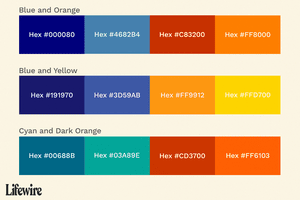 Color swatches of Blue and other colors with hex numbers