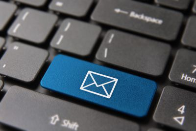 Email computer button for business contact mail