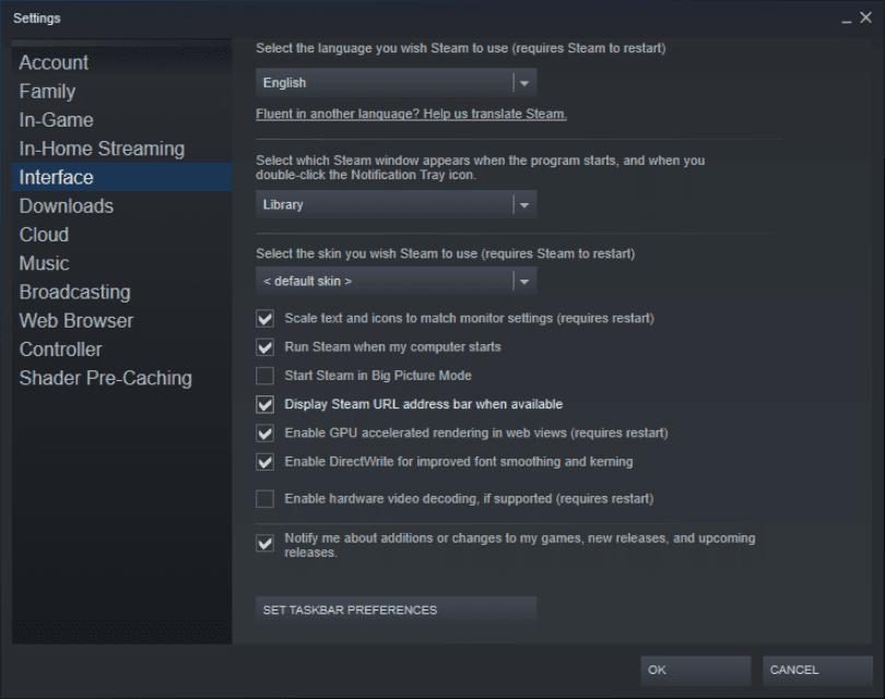 A screenshot of the Steam settings menu.