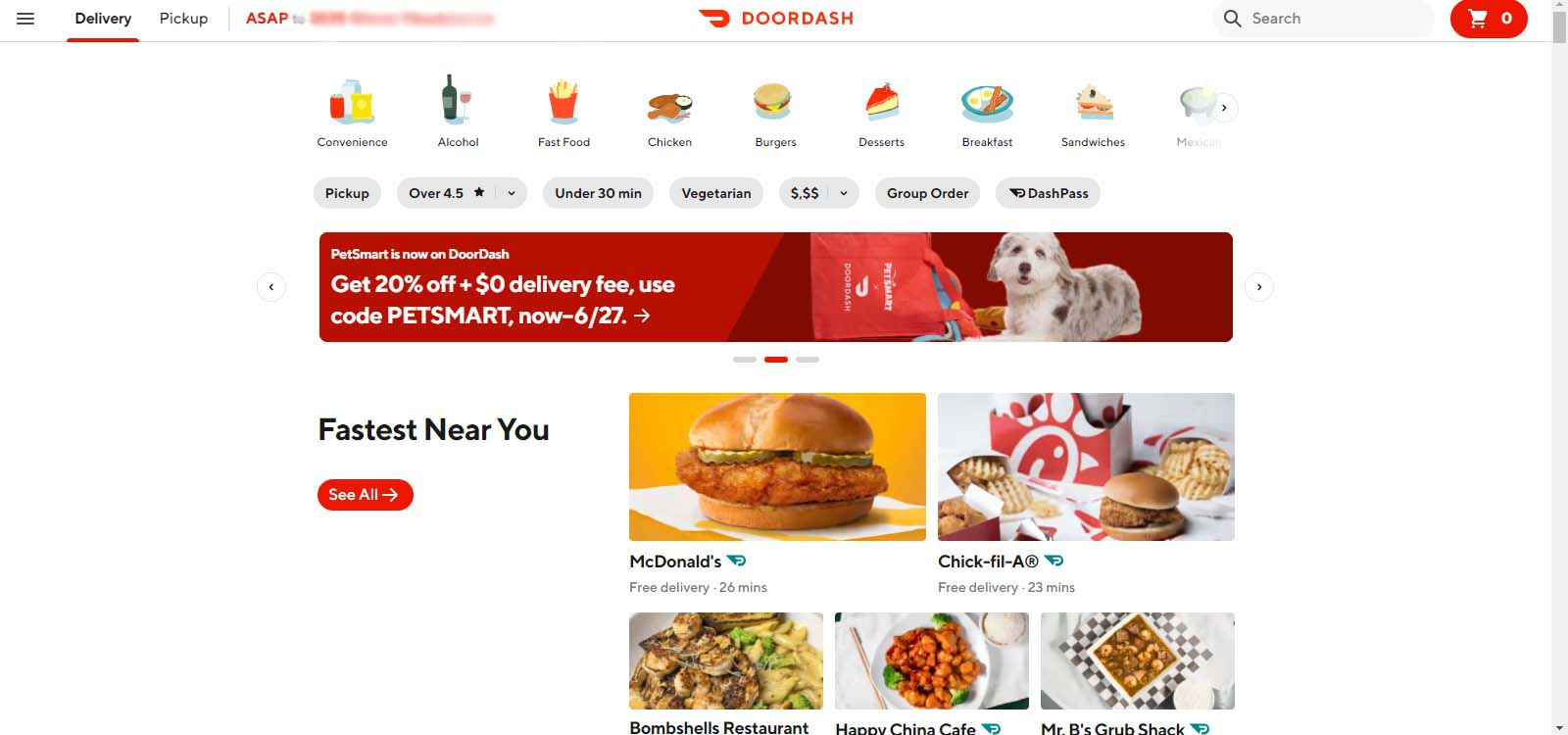 DoorDash home page after customer signs in.