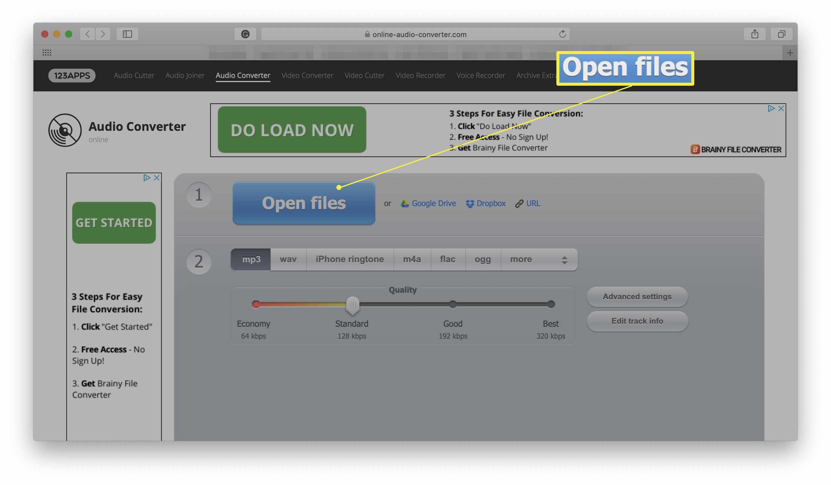 Online Audio Converter website with Open Files highlighted
