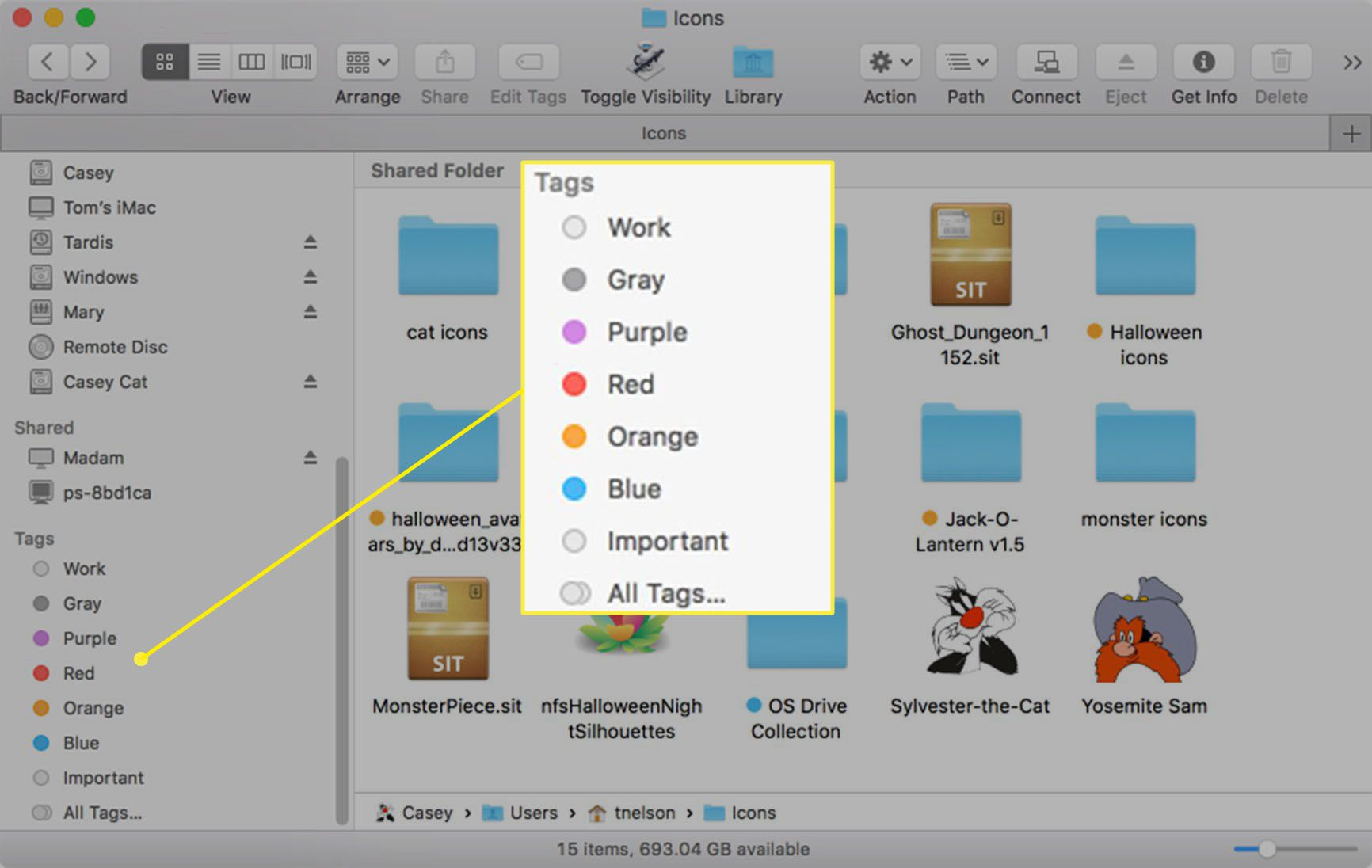 Finder with Tags displayed in sidebar