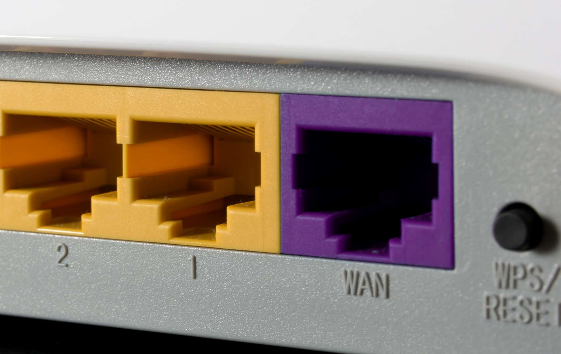 WAN and LAN ports on the back of a modem.
