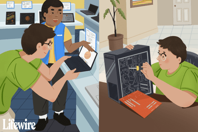An illustration of someone building a PC and buying one.