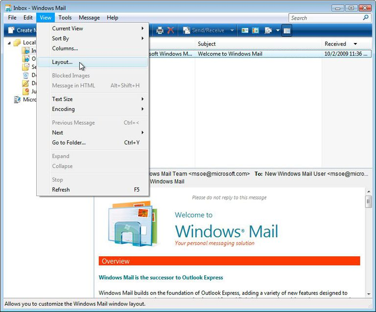 Screenshot of how to disable the preview pane in Windows Mail