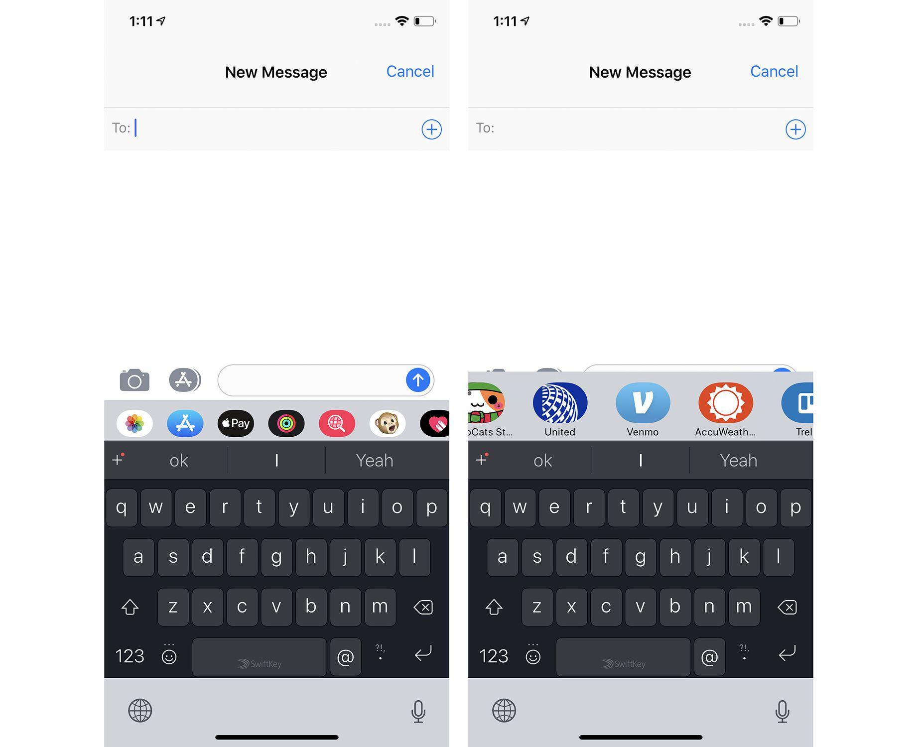 Screenshots of using iMessage apps