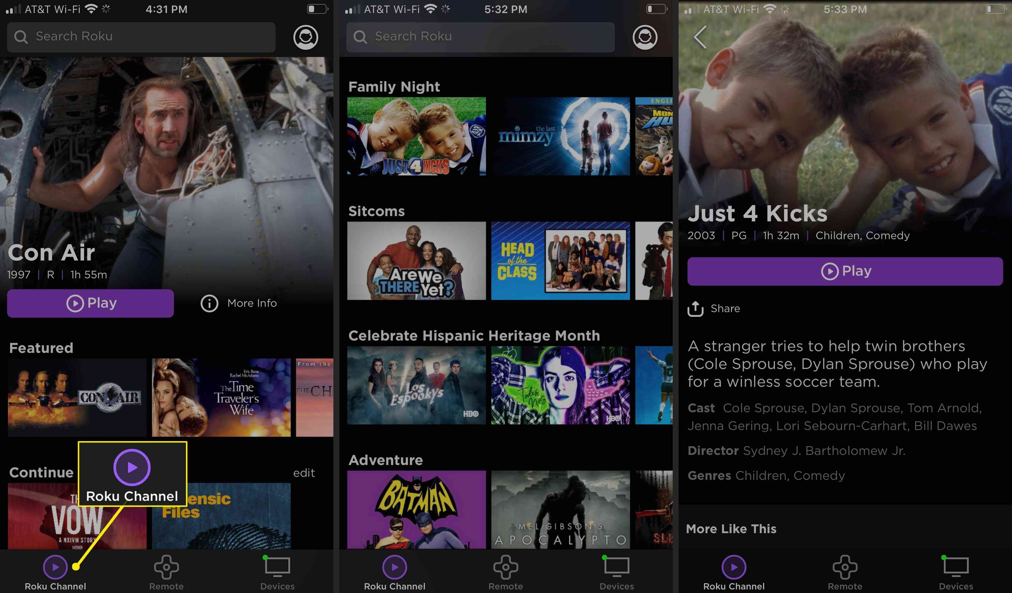 Find current programming with the Roku app