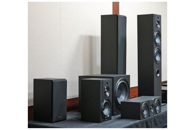 A display showcasing the Sony CS-series line of speakers