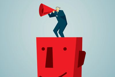 Illustratration of sylized person with a megaphone standing atop a red blockhead