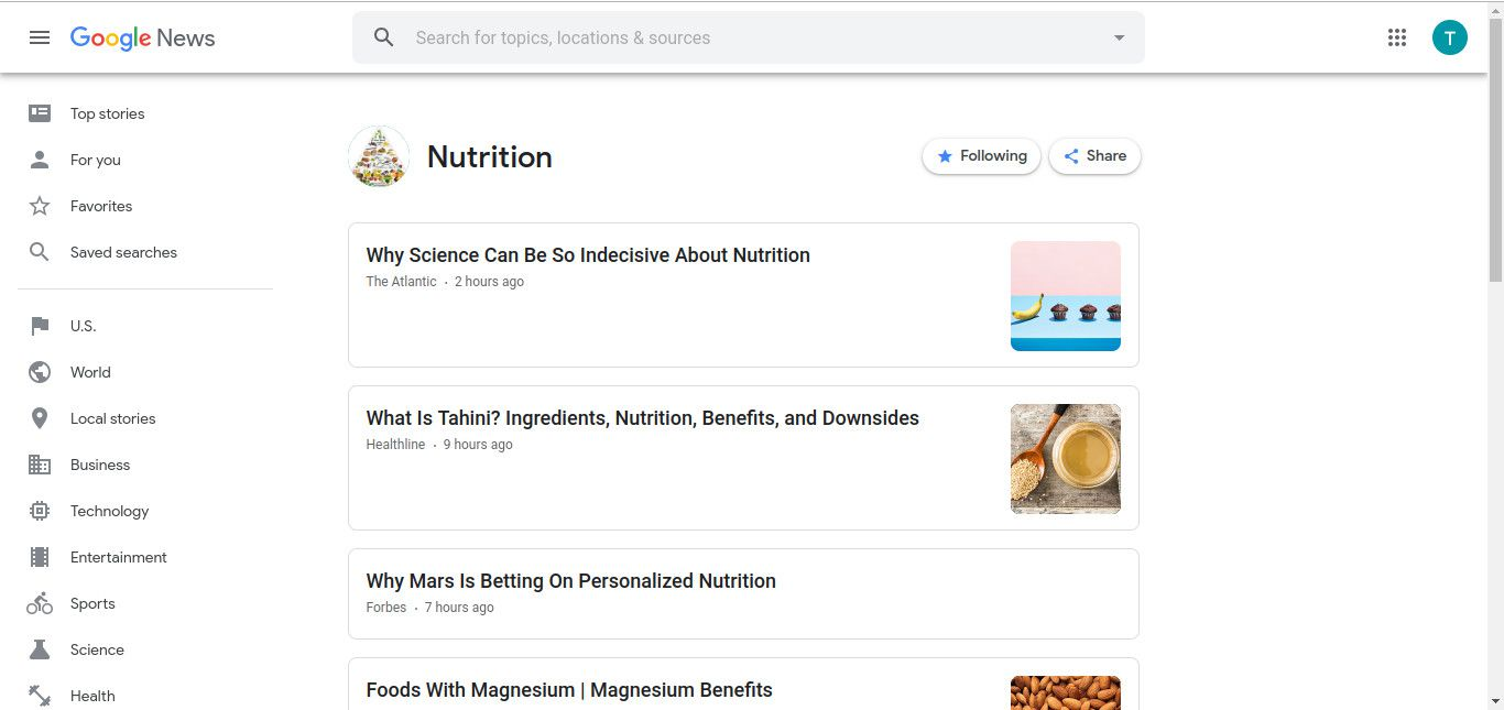 Following topic on Google News screenshot