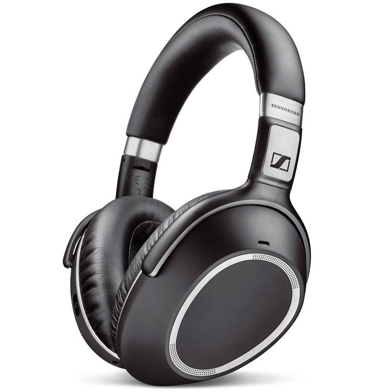 A closeup of the Sennheiser PXC 550 Wireless headphones in black