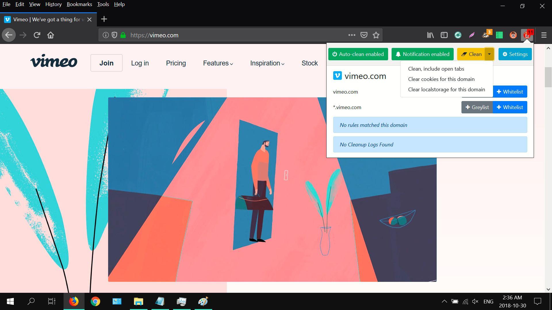 Screenshot of Cookie AutoDelete's drop-down options