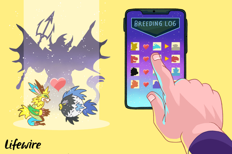 Monster Legends Breeding guide on iPhone screen